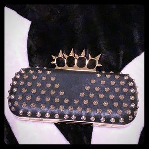 NWOT Aldo Black Leather and Gold Spiked Clutch